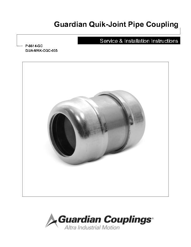 Quik-Joint Pipe Coupling Service & Installation Instructions